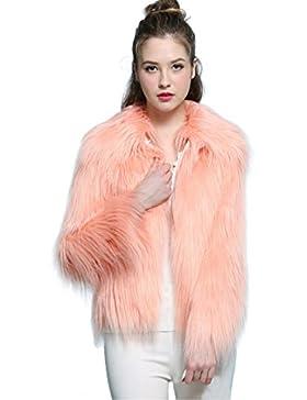 Mujer Invierno Abrigo,prendas de vestir las mujeres de otoño invierno elegante cálido abrigo largo de piel sintética...