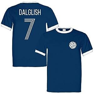 Kenny Dalglish 7 Scotland Legend Ringer Retro T-Shirt Navy/White - Medium from Sporting Empire