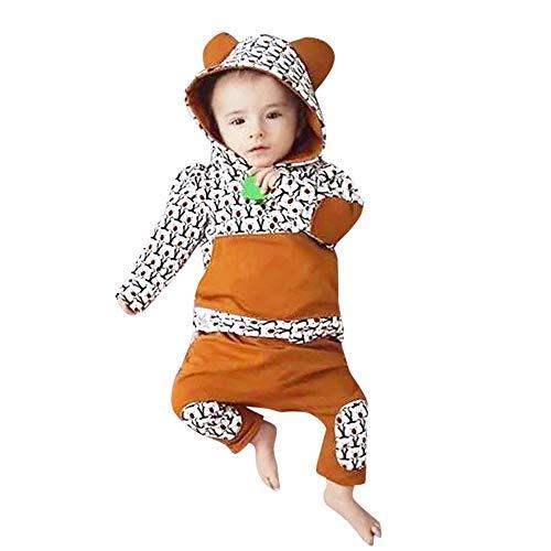 Yanhoo Kleinkind Jungen Mädchen Langarm Bär Drucken Kapuzenpullover +Baumwolle Gestreiftes Hose Lange 2 Stück Bekleidungsset Winter Outfits ()