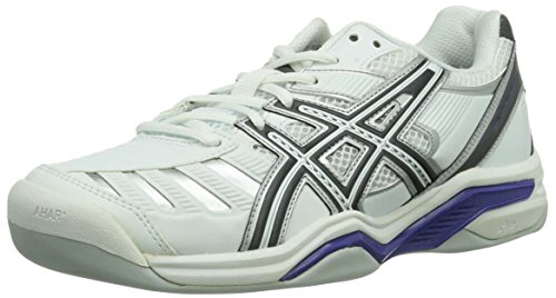 Asics GEL-CHALLENGER 9 INDOOR, Damen Tennisschuhe, Weiß (WHITE/CHARCOAL/PURPLE 0174), 40.5 EU (8 Damen UK)