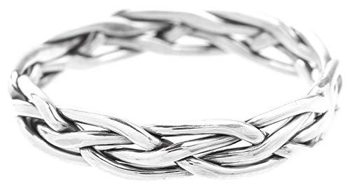 Original Kostüm Power Girl - WINDALF Schmaler Mittelalter Ring SKALA 0.3 cm Damenring mit Zopfmuster Handarbeit 925 Sterlingsilber (Silber, 60 (19.1))