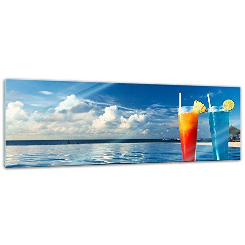 Glasbild - Cocktail am Swimmingpool - 120x40 cm - Deko Glas - Wandbild aus Glas - Bild auf Glas - Moderne Glasbilder - Glasfoto - Echtglas - kein Acryl - Handmade