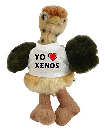 Avestruz personalizado de peluche (juguete) con Amo Xenos en la camiseta (nombre de pila/apellido/apodo)