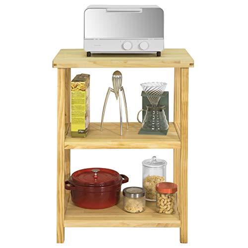 Sobuy tavolo consolle scaffale cucina porta microonde tavolino soggiorno multiuso in legno massiccio di pino, l58*p40*a82 cm fsb22-n
