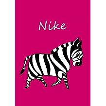 personalisiertes Malbuch / Notizbuch / Tagebuch - Nike: Zebra - A4 - blanko