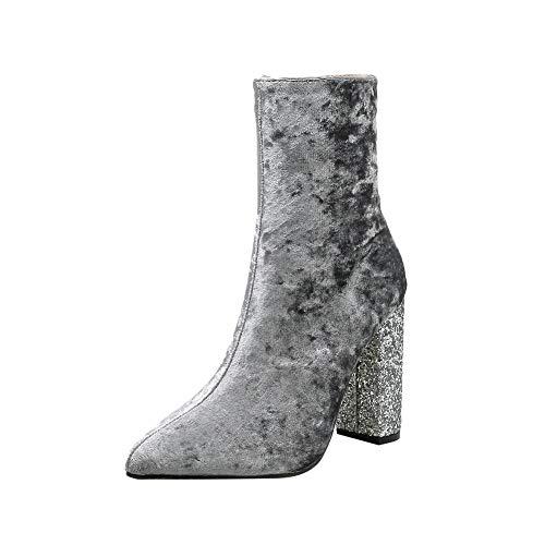 Toasye Damenmode Glänzende Starke Ferse Schuhe Spitze Zehenabsatz Reißverschluss Boots Stiefel