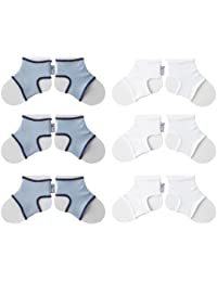 Sock Ons Clever Little Things That Keep Baby Socks On! 6 Pack, Large, Baby Blue/White (6-12 Months)