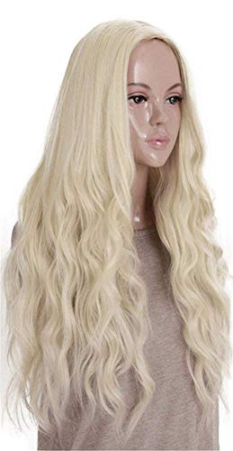 Kalyss Lange Curly Wellig Hitzebeständige Synthetische Blonde Haar Perücke für Frauen