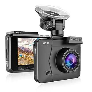 AZDOME 4K WiFi Dashcam Autokamera mit GPS, WDR, Zeitraffer, 170° Weitwinkelobjektiv, Nachtsicht, Loop-Aufnahme, G-Sensor, Parkmonitor, Bewegungserkennung Auto Dashcam KFZ Dash Kamera (M06)
