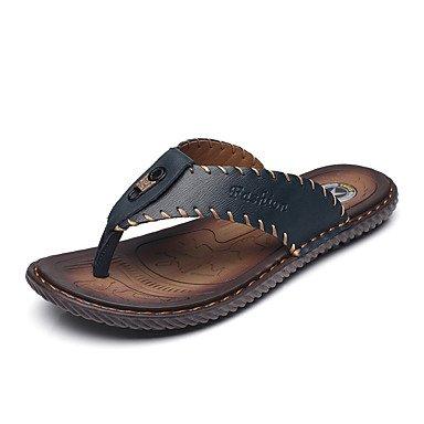 Slippers & amp da uomo;Primavera Estate Comfort pelle bovina informale all'aperto piani del tallone sandali Walking sandali US10 / EU43 / UK9 / CN44