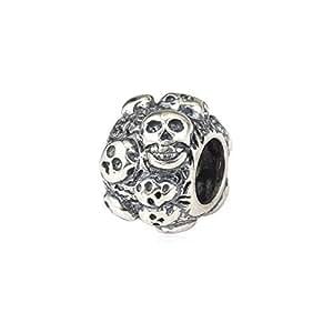Everbling Macabre d'Halloween tête de mort en argent Sterling 925 authentique compatible avec les Bracelets Pandora, Biagi, Chamilia, Troll, Europen Charms Style Bracelets