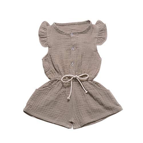 Sanahy Baby Mädchen Strampler Baby Mädchen Strampler Sommer Ärmellose Spielanzug Bogenknoten Bodys Einteiler Leinen Volltonfarbe Kleidung Overall 3-24 Monate -