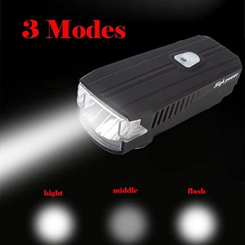 VENMO USB wiederaufladbare LED Fahrrad Frontleuchte Radfahren Kopflampe Kopflampe Stirnlampe Taschenlampe Scheinwerfer LED wiederaufladbare Lumen Zoom Wasserdicht für Camping Laufen Wandern Lesen Angeln Radfahren Light (Black)