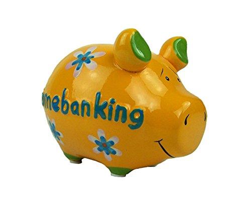 KCG Spardose, Sparschwein, Moneybank. große Auswahl. ca 12 cm. lang. Keramik, Farbe:Homebanking F1202