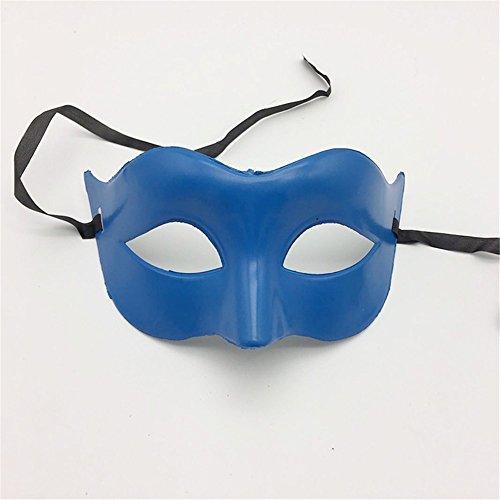 Maskerade,Glamour Herren Maske Halloween Make-up Abschlussball Maske Damen Volltonfarbe Minimalistisch Half Face Zorro Maske Maske Blau Masquerade