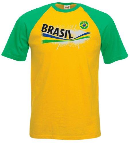 world-of-shirt Herren T-Shirt Brasilien Vintage Baseball Trikot|g-M