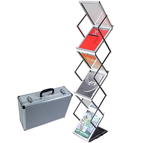 NOBLJX Faltbarer Zeitungsständer - Pop-Up-Broschüre Katalog-Literatur-Ausstellungshalter, 6 Taschen Tragbarer Ausstellungsliteratur-Bodenständer Aus Aluminium Für Büro Und Einzelhandelsgeschäft