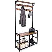 Leader Accessories 183CM Modern Industrial Coat Tree,Coat Rack Shoe Bench with Removable 9 Hooks, Hall Tree Entryway Storage Shelf, Metal Frame,3 in 1 Design(Rustic Brown) 84 CM x 30CM x 183CM(L*W*H)
