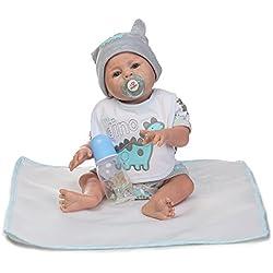 Decdeal Poupée Reborn Bébé Jouet de Bain Complète Corps avec Vêtements en Silicone Yeux Ouverts