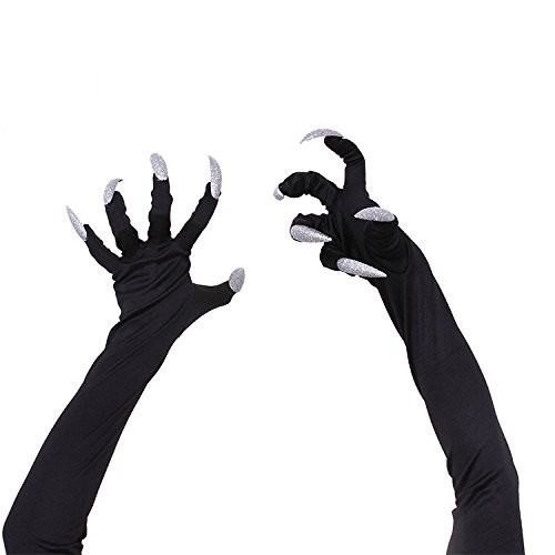 Bolara Halloween Animal Claw Black Fancy Costume Party Hand Gloves Cat Gloves Macabre Style Nails for Women Men