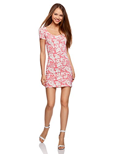 oodji Ultra Damen Enges Jersey-Kleid, Rosa, DE 40 / EU 42 / L