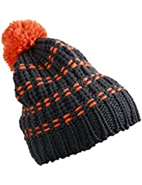 MB Knitted Hat with Stripes and Pompom 6 Great Colours (MB7960)
