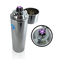 ART IFACT Electronic USB Plasma Cylindrical Triple Arc Rechargeable Cigarette/Tobacco Pipe Lighter - Tesla Coil (Glossy Silver)