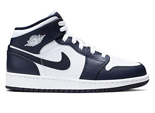 Nike Jungen AIR Jordan 1 MID (GS) Basketballschuhe, Weiß (White/MTLC Gold/Obsidian 174), 40 EU - Air Jordan 1