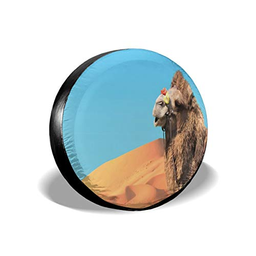 Hshbgiu Tire Cover Tire Cover Wheel Covers,Close Up Photo of A Camel In Sahara Desert Sand Dunes and Sky,for SUV Truck Camper Travel Trailer Accessories(14,15,16,17 Inch),Tire Cover Size:14inches -