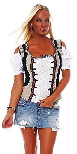 Fashion4Young Damen Dirndlbluse Bluse Trachtenbluse Dirndl Trachten Oktoberfest Lederhose Trachtenmieder (34, Schwarz Weiß)