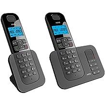 AEG Voxtel D505 Twin - Teléfono fijo digital, negro
