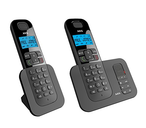 """AEG Voxtel D505 Twin - Schnurloses 1.6\"""" DECT-Telefon mit zusätzlichem Mobilteil, Freisprecheinrichtung, Anrufbeantworter und Anruf Blocker, Schwarz"""