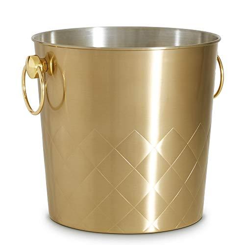 VonShef Sektkühler Champagnerkübel aus Edelstahl 5L - gebürstetes Gold mit Tragegriffe
