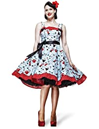 Hell Bunny - Dixie - Robe Rockabilly Années 50 - Pin Up & Etoiles - Bleu/Rouge