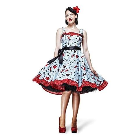 Hell Bunny Rockabilly Kleid Dixie Hellblau mit Trägern 50ziger Jahre Kleid - M