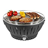 MEDION Holzkohlegrill mit Aktivbelüftung, regelbarer Ventilator, Temperaturregler, Grillrost aus rostfreiem Edelstahl, Abnehmbare Fettauffangschale, MD 18722, schwarz