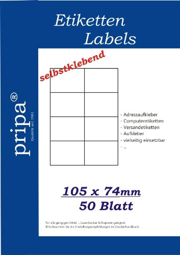 Etiketten Volle Blatt Avery (pripa Etikettenformat 105 x 74, 50 Blatt DIN A4 selbstklebende Etiketten. Der Einzelbogen ist aufgeteilt in8 Etiketten pro Bogen = 2 Spalten je 4 Reihen,400Etiketten/Pack.)