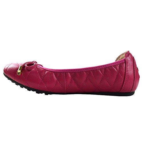 Signore delle donne scivolare sul balletto di pelle di pecora in pelle Flats Ballerine 607-20 (39,Rosso2)