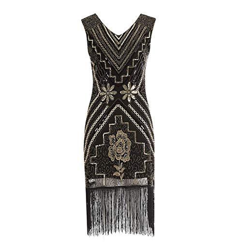 Go First Frauen 1920er Jahre Vintage Fransen Pailletten Perlen Quaste Midi Kleid Ärmellose V-Ausschnitt Quaste Abend Cocktail Party Kleider (Color : Schwarz, Size : Medium)