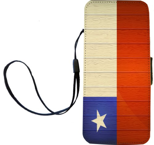 Rikki Knight Chile Flagge auf Distressed Holz Flip Wallet iphonecase mit Magnet Klappe für iPhone 5/5S - Chile Flagge auf Distressed Holz -