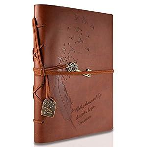 RYMALL Cubierta de cuero de la vendimia retro Notebook llave mágica Cadena 160 en blanco Jotter Diary, 15 × 21 cm, A5… 8