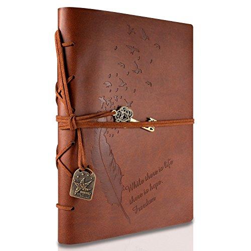 Foonii Cubierta de cuero de la vendimia retro Notebook llave mágica Cadena 160 en blanco Jotter Diary, 15 × 21 cm, A5 (Brown)