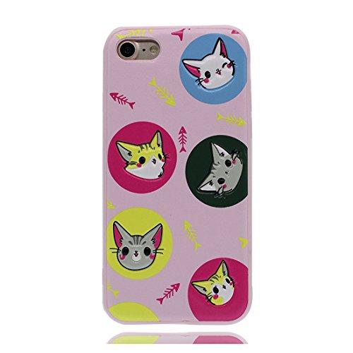 iPhone 7 Plus Custodia, Gel TPU Soft flessibile protettivo indietro leggero Case Cover Skin Bumper iPhone 7 Plus Copertura, Graffi Prova & elegante ( Cartoon Shell coniglio carota ) rosa 2