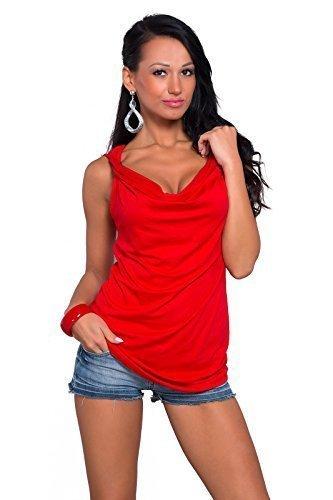 FUTURO FASHION Femmes Uni Débardeur Col Bénitier Tunique sans Manche Style Chute DEau T-Shirt Occasionnel Viscose Taille 8-18 UK 8124 Rouge