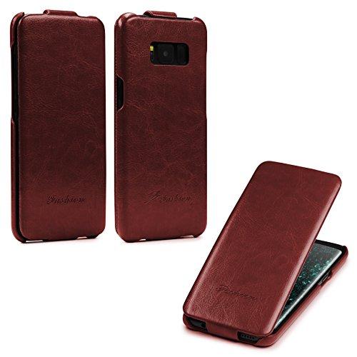 Urcover® Flip Cover kompatibel mit Samsung Galaxy S8 Schutz-Hülle   Case Braun   Fashion Klapp-Tasche   Hülle Smartphone Zubehör Flip Leder Hard Case