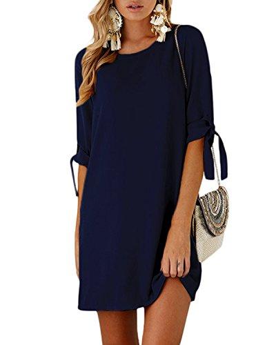men Tshirt Kleid Rundhals Kurzarm Minikleid Kleider Langes Shirt Lose Tunika mit Bowknot Ärmeln Dunkelblau EU46(Kleiner als Reguläre Größe) ()