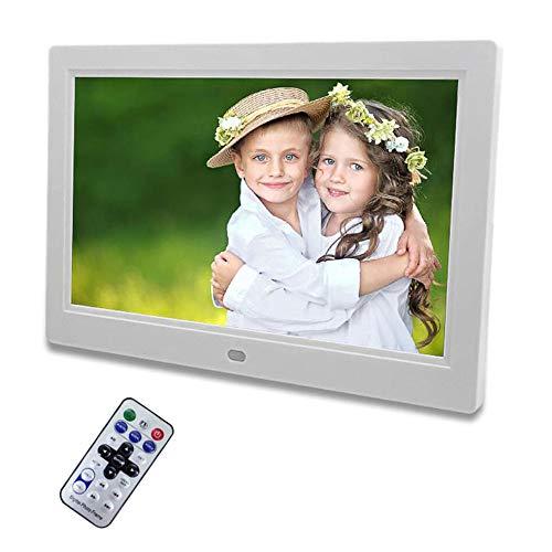 Digitaler Bilderrahmen 10 Zoll HD 16:9 Ultra Slim Breitbild Elektronischer Bilderrahmen Mit Fernbedienung Elektronischer Fotorahmen Unterstützt SD/USB Und Video Musik FotoBilder,White