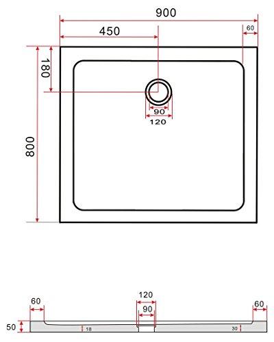 50 mm Duschtasse 80 x 90 cm - 2
