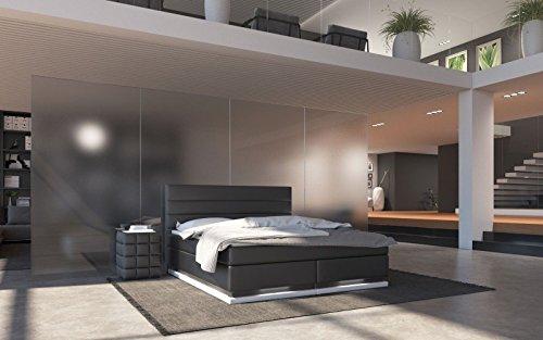 Sedex RIPIAN Boxspringbett 180x200cm Bett Doppelbett Polsterbett Hotelbett Kunstleder - schwarz