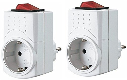 REV Schuko Zwischenstecker mit Schalter – 2 Stück Steckdosenadapter – schaltbare Steckdose – Verteilerdose – Verteilersteckdose – Steckdosenschalter stromsparend - weiß
